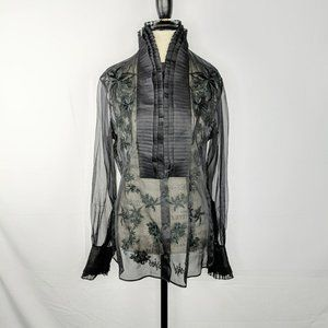 Gianfranco Ferre Black Silk Sheer Embroidered Top